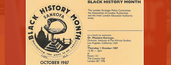 HISTORIC: Black History Month 1987- invitation to Dr Maulana Karenga lecture