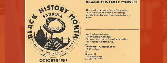 HISTORIC: Black History Month 1987- invitation to Dr Maulana Karenga lecture